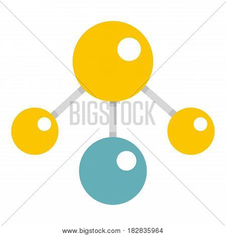 Yelllow and blue atomic structure icon flat isolated on white background vector illustration