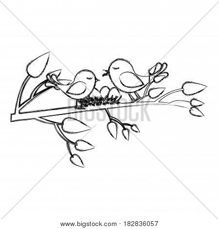 monochrome sketch of birds and nest in tree branch vector illustration