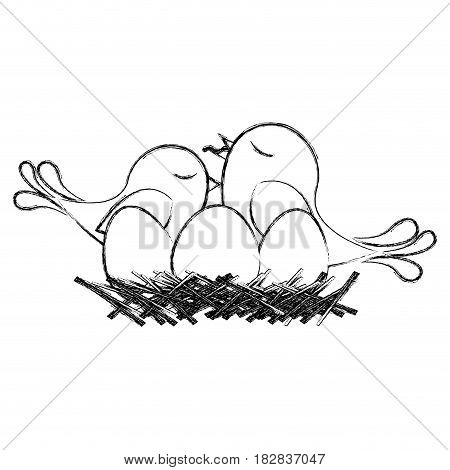monochrome sketch of bird in nest with eggs and chick vector illustration