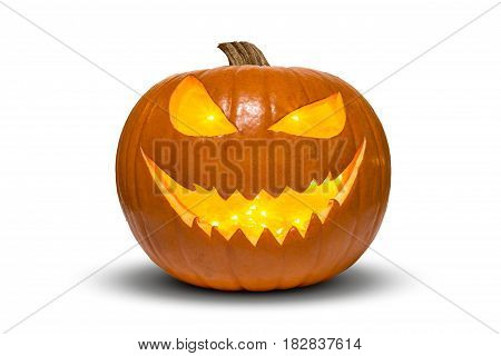 Smiling Halloween pumpkin with fireflies inside isolated on white