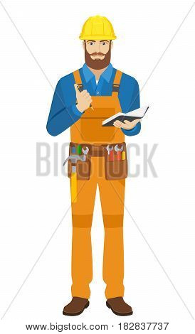 Worker with pen and pocketbook. Full length portrait of worker character in a flat style. Vector illustration.