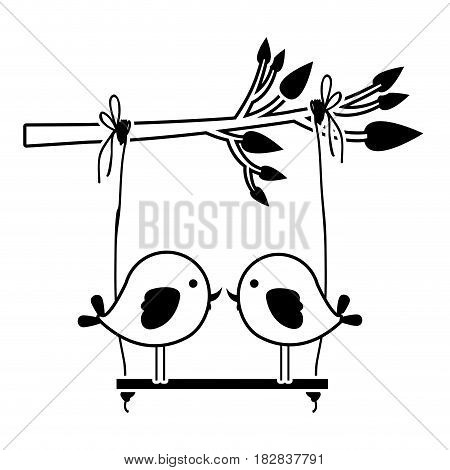 black silhouette of tree branch with swing and couple of birds in closeup vector illustration