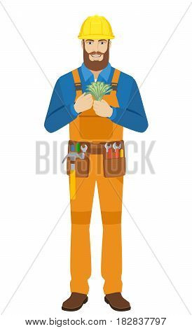 Worker counts cash money. Full length portrait of worker character in a flat style. Vector illustration.
