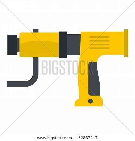 Yellow hand drill icon flat isolated on white background vector illustration