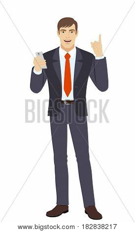 Businessman with mobile phone pointing up. Full length portrait of businessman in a flat style. Vector illustration.