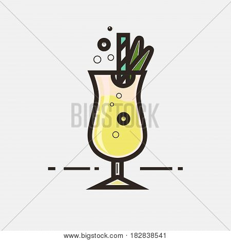 Cocktail Pina Colada vector concept. Element made in flat style for menu posters brochures for cafe bar or restaurant.
