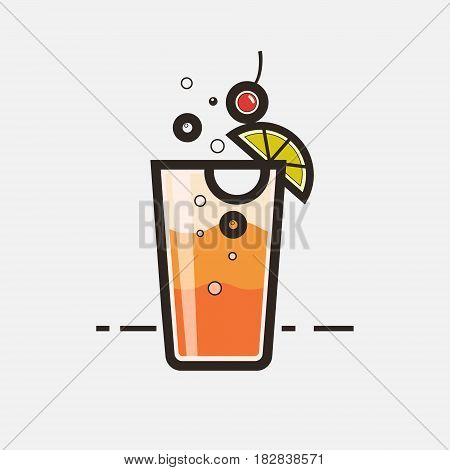Cocktail Tequila sunrise vector concept. Element made in flat style for menu posters brochures for cafe bar or restaurant.
