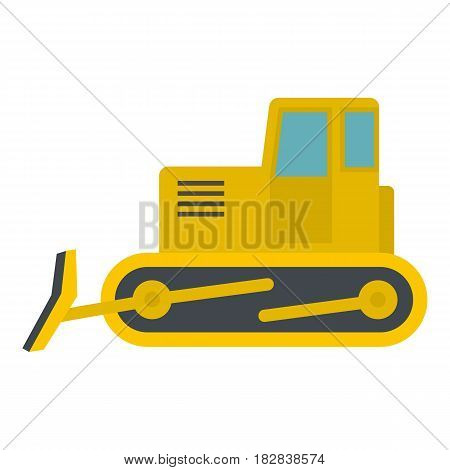 Yellow bulldozer con. Flat illustration of yellow bulldozer vector icon flat isolated on white background vector illustration
