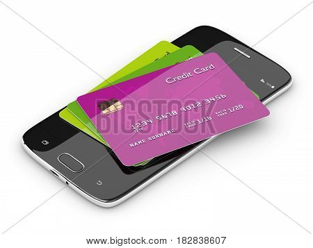 3D Render Of Credit Cards Lying On Mobile Phone