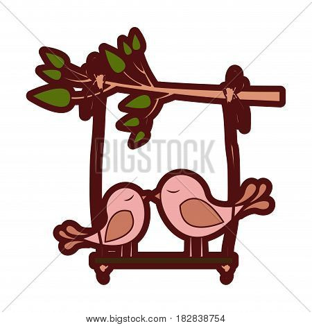 colorful thick silhouette of tree branch with swing and couple of birds vector illustration