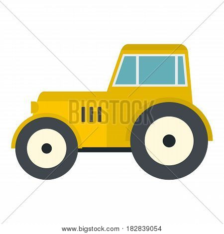 Yellow tractor icon flat isolated on white background vector illustration
