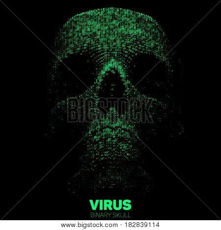 Vector skull constructed with green binary code. Internet security concept illustration. Virus or malware abstract visualization. Hacking big data image.