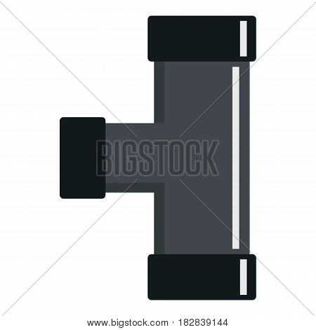 Black joint T pipe connection icon flat isolated on white background vector illustration