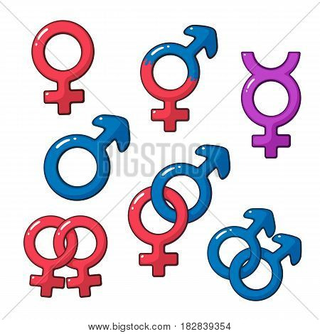 Vector illustration. Cartoon set of gender symbols. Cartoon style with contour. Decoration for greeting cards, prints for clothes, badges, posters, emblems