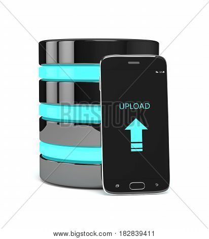 3D Render Of Mobile Phone With Server Over White