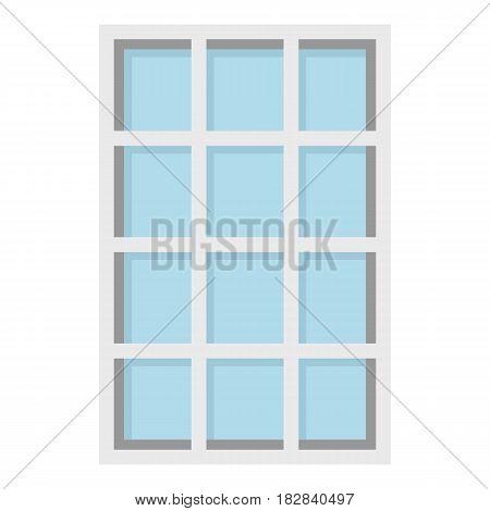 White latticed rectangle window icon flat isolated on white background vector illustration