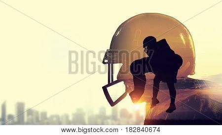 American football game . Mixed media