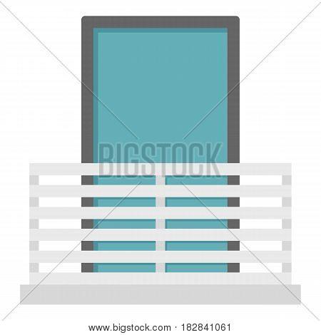 White balcony with window con. Flat illustration of white balcony with window vector icon flat isolated on white background vector illustration