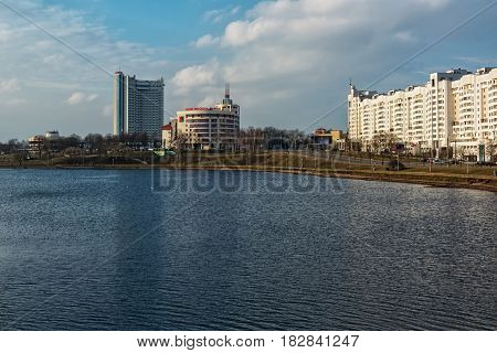 Belarus, Minsk - 09/03/2017: City landscape. View of the building of the bank Moscow-Minsk and the hotel Belarus