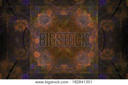 Background image of a brown pattern from various geometric shapes on a background of a square