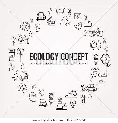 Ecology and environment icons. Round thin line ecology symbol. Hand drawn illustration. Vector.