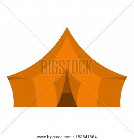 Orange tent for forest camping icon flat isolated on white background vector illustration
