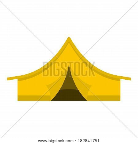 Yellow tourist tent icon flat isolated on white background vector illustration