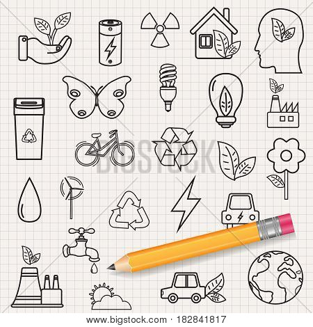 Ecology icons set. Icons for renewable energy, green technology. Hand drawn. Vector illustration
