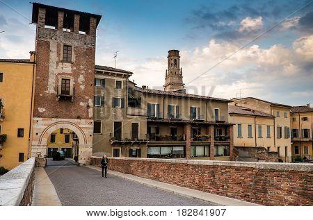 Verona, Italy - April 04, 2017: Cityscape Of Verona, Veneto
