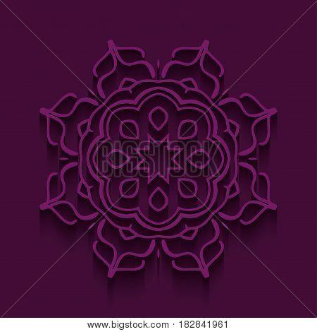 Mandala card. Vector. Mandala illustration background with shadows.