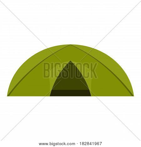 Green tent for camping icon flat isolated on white background vector illustration