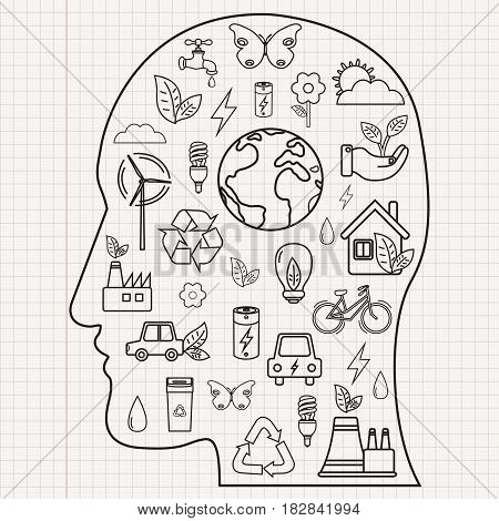 Ecology and environment concept. Human face silhouette with ecology icons. Hand drawn illustration. Vector.