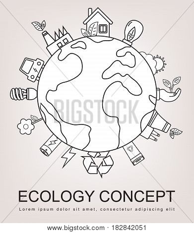 Ecology and environment concept. Green planet with ecology icons. Hand drawn illustration. Vector.