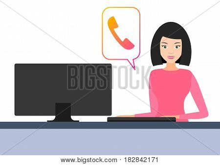 icon girl behind the computer. vector illustration. online call online chat. the customer support center. flat.