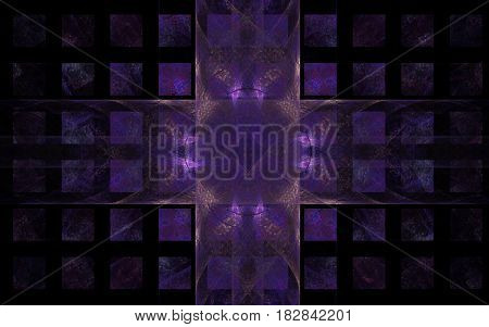 Abstract image of a symbol in the form of crossing transparent bands with wavy lines on a background of a violet circle with a pattern and individual small squares disappearing to the edges of the composition on a black background.