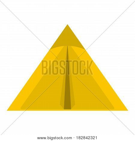 Yellow tourist tent for travel and camping icon flat isolated on white background vector illustration