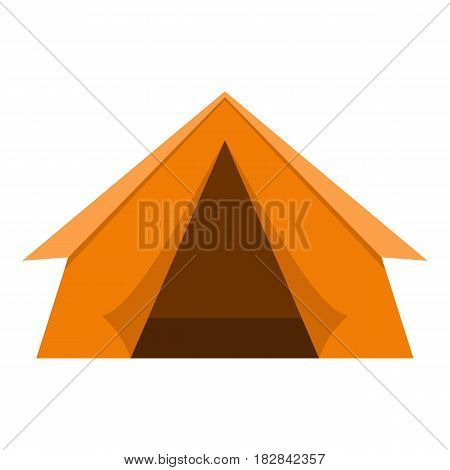 Orange touristic camping tent icon flat isolated on white background vector illustration