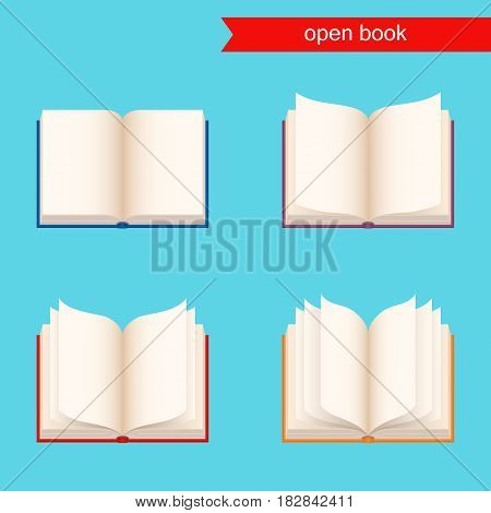open book with blank pages. vector icon. set of books with color covers.