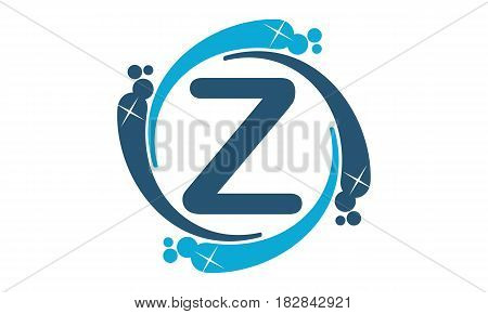 This vector describe about Water Clean Service Abbreviation Letter Z