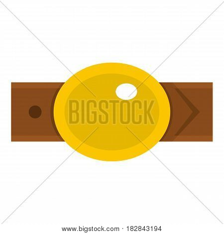 Belt with gold oval shaped buckle icon flat isolated on white background vector illustration