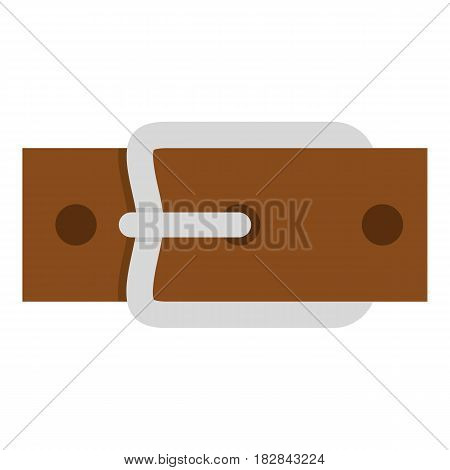 Leather belt with silver buckle icon flat isolated on white background vector illustration