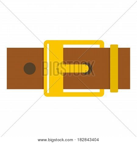 Belt with yellow square buckle icon flat isolated on white background vector illustration