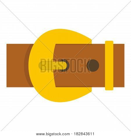 Gold buckle belt icon flat isolated on white background vector illustration