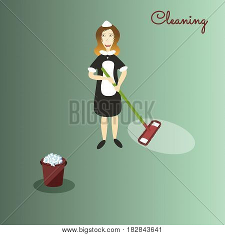 Cute cartoon cleaner in dark dress and white apron with the tools for housekeeping: a burgundy bucket with soapy foam, MOP with green handle and cloth. Green background. Vector illustration. Cleaning