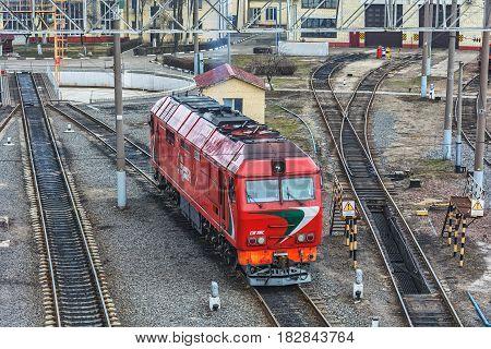 Belarus Minsk - 20.03.2017: Diesel locomotive TEP 70 BS in the locomotive depot of the railway