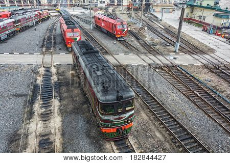 Belarus Minsk - 20.03.2017: Diesel locomotives TEP60-0749 and TEP 70 BS in the locomotive depot of the railway