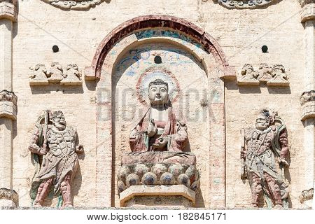 Inner Mongolia, China - Aug 08 2015: Relief At Daming Pagoda(damingta) At Site Of The Middle Capital