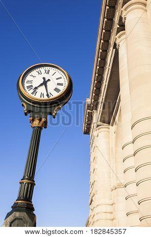 Clock at Union Station in Kansas City . Kansas City Missouri USA.