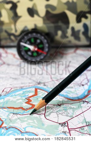Compass and map traveler's accessories travel object