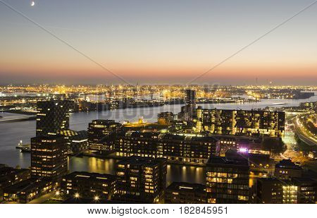 Aerial panorama of port in Rotterdam. Rotterdam South Holland Netherlands.